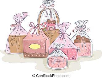 cadeau, coloré, paquets