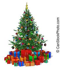 cadeau, couleur, arbre, boîtes, tas, décoré, noël