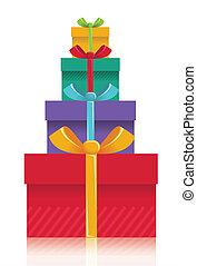 cadeau, couleur, isolé, illustration, présente, boîtes,...