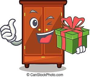 cadeau, dessin animé, garde-robe, isolé