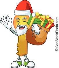cadeau, dessin animé, or, bougie, santa, caractère, conception, sac