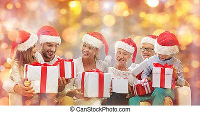 cadeau, famille, chapeaux, boîtes, santa, heureux