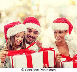 cadeau, famille, séance, chapeaux, boîtes, santa, heureux