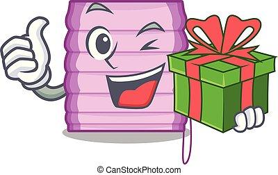 cadeau, fenêtre, nouvelle maison, abat-jour, dessin animé