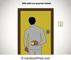 cadeau, geklede, back, professionally, vasthouden, ...