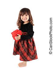cadeau, girl, peu, boîte, rouges