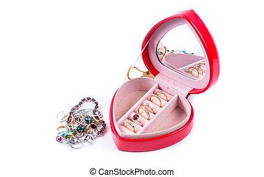 cadeau, hart, ringen, vorm, doosje, rood