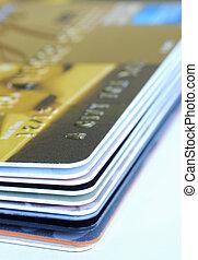 cadeau, haut, cartes crédit, fin, pile, vue