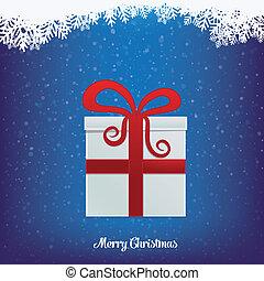 cadeau, hiver, neigeux, paysage