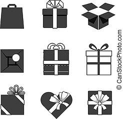cadeau, iconen, vrijstaand, verzameling, dozen, witte