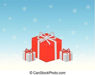 cadeau, illustratie, dozen, vector, ontwerp, vakantie, kerstmis