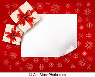 cadeau, illustration, boîtes, vecteur, bow., fond, noël, rouges