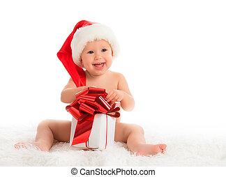 cadeau, isolé, bébé, chapeau, noël, heureux