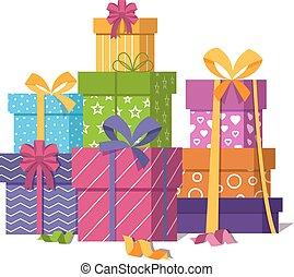 cadeau, isolé, boîtes, tas, fond, emballé, blanc