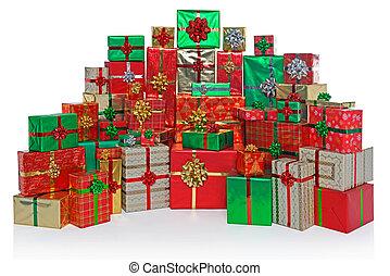 cadeau, isolé, présente, emballé, noël blanc