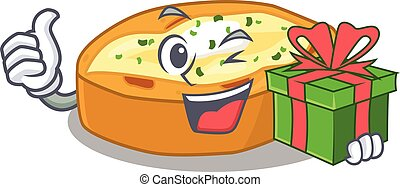 cadeau, karakter, hebben, het glimlachen, bakt, doosje, aardappels, spotprent, groene
