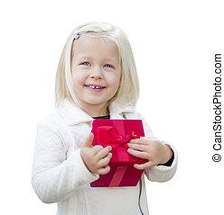 cadeau, kerstmis, vasthoudende baby, meisje, wit rood