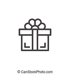 cadeau, lijn, pictogram