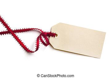cadeau, lint, zich verbeelden, rood etiket