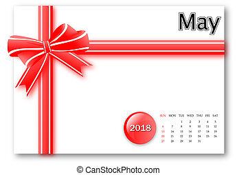 cadeau, mai, série, -, conception, 2018, calendrier, ruban