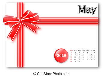 cadeau, mai, série, -, conception, calendrier, 2016, ruban