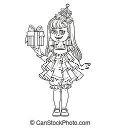 cadeau, main, robe, girl, page, nouvel an, esquissé, arbre, mignon, coloration