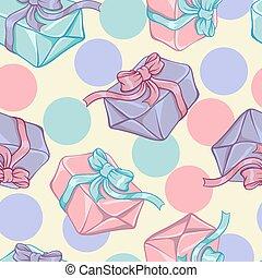 cadeau, modèle, seamless, texture, boxes., vecteur