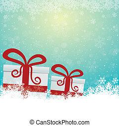 cadeau, neige, étoiles, bleu, fond blanc