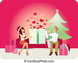 cadeau noël, amour, -