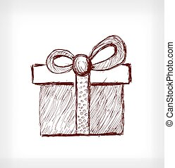 cadeau, noël, bow.