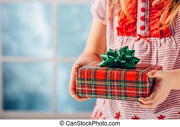 cadeau, ondiep, dof, handen, kerstmis, child.
