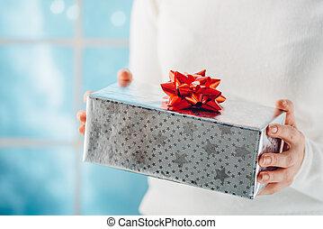 cadeau, ondiep, dof, handen, woman., kerstmis