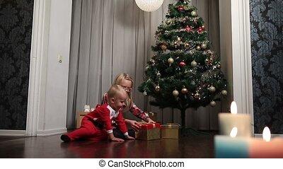cadeau, opening, kinderen, dozen, kerstmis, vrolijke