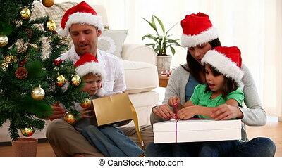 cadeau, ouverture, noël, famille