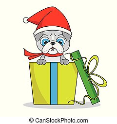 cadeau, paquet, intérieur, chien, santa chapeau