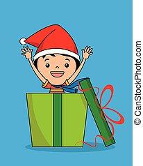 cadeau, paquet, intérieur, santa, enfant, chapeau