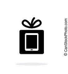 cadeau, pc tablette, arrière-plan., blanc, icône