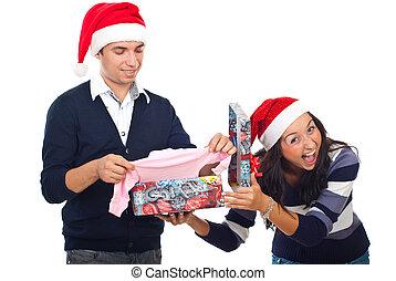 cadeau, plaisanterie, noël