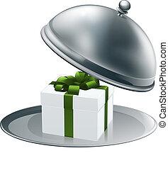 cadeau, plat, argent