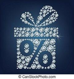 cadeau, présent, lot, diamants, fait, boîte, cent, haut