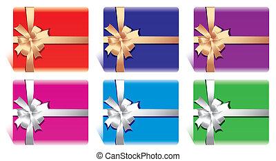 cadeau, ri, boîtes, cartes, arc, ou
