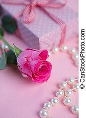 cadeau, rose kwam op, parels