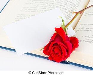 cadeau,  rose, Livre, texte, rouges, vide, ouvert, carte