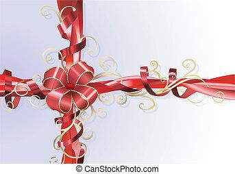 cadeau, ruban, fond, arc
