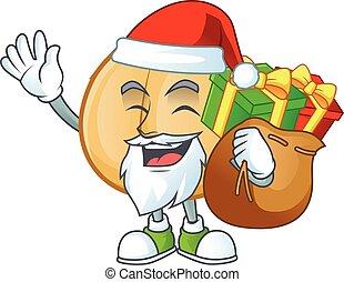 cadeau, santa, caractère, sac, dessin animé, pois chiches, conception