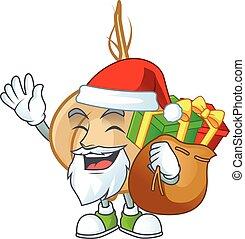 cadeau, santa, jicama, caractère, sac, dessin animé, conception
