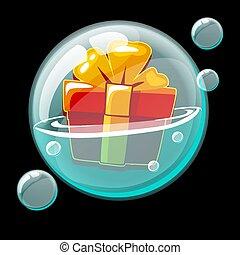 cadeau, savon, arc, boîte, bubble., icône