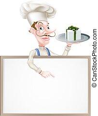 cadeau, signe, chef cuistot