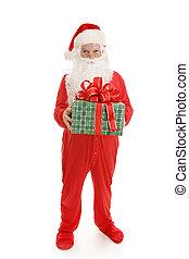 cadeau, slaperig, kerstman