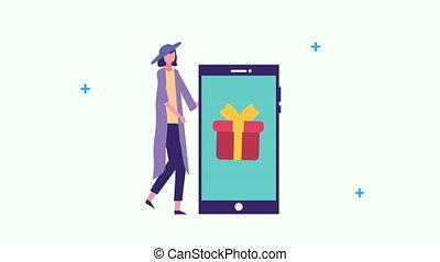 cadeau, smartphone, jeune, femme affaires